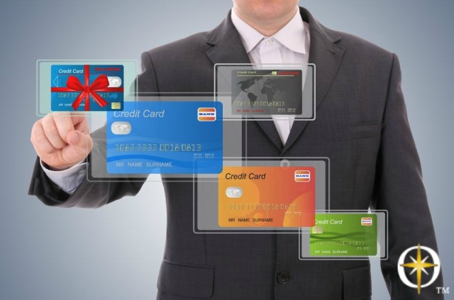 Man with Credit Cards with logo